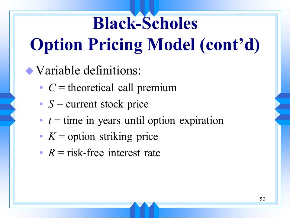 Stock options black scholes model