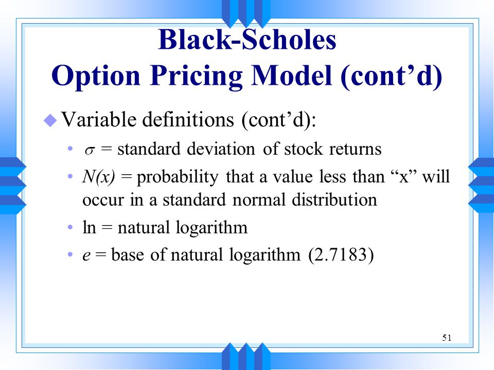 Black scholes method stock options
