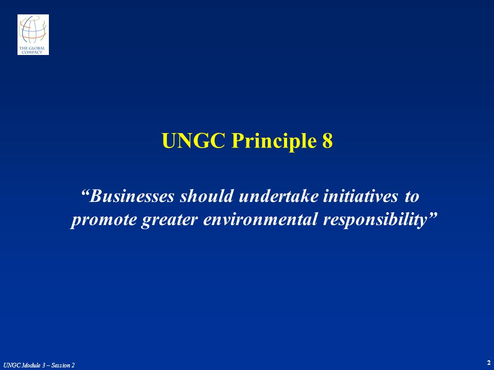 UNGC Principle 8 Businesses should undertake initiatives to promote greater environmental responsibility