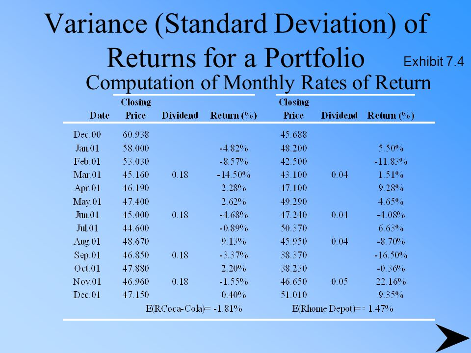 how to find standard deviation of returns
