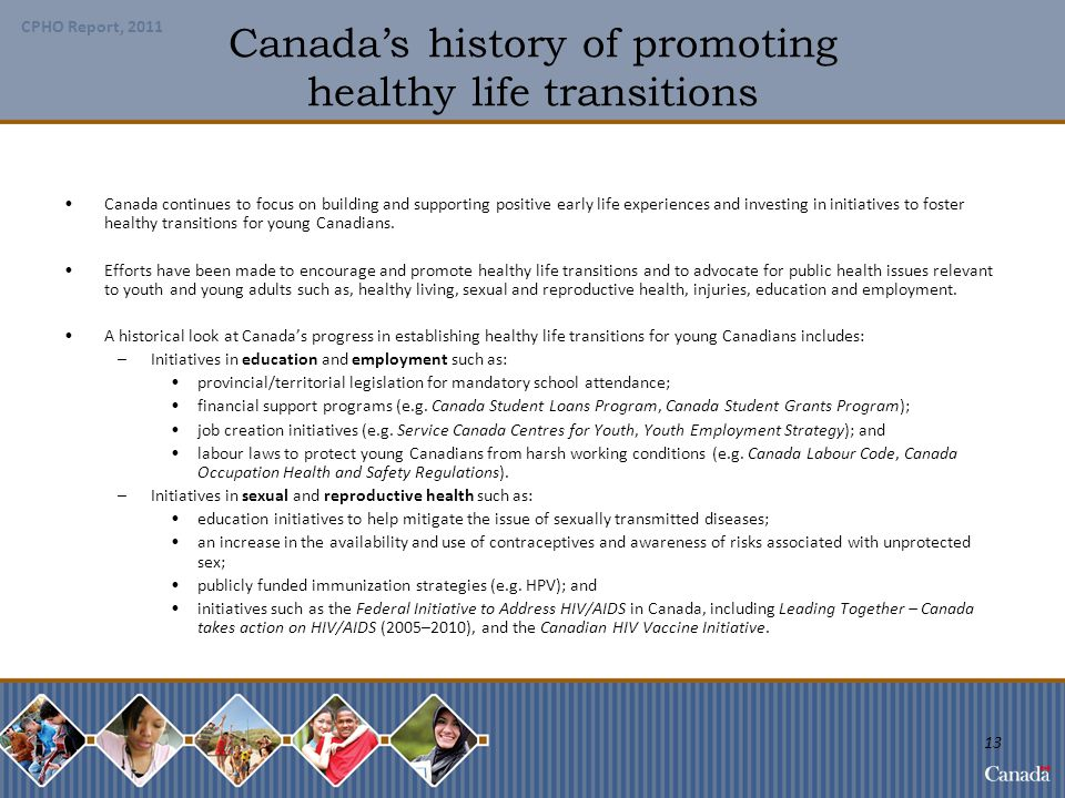 Canada's history of promoting healthy life transitions