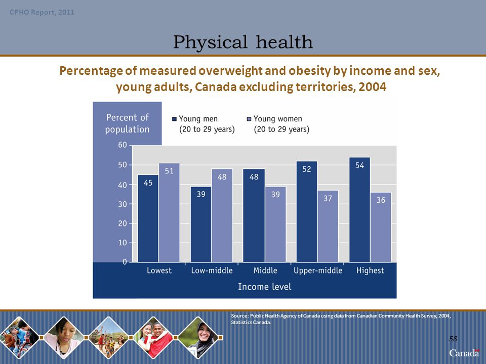 Physical health Percentage of measured overweight and obesity by income and sex, young adults, Canada excluding territories, 2004.