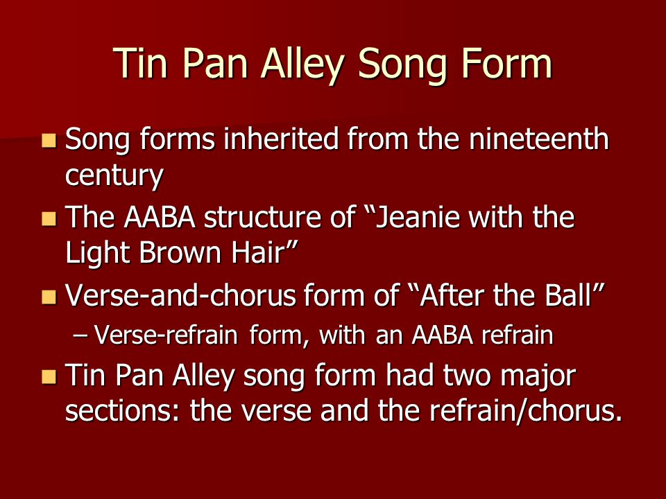 THE GOLDEN AGE OF TIN PAN ALLEY SONG - ppt video online download
