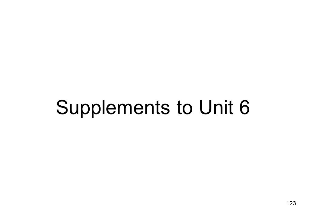 Supplements to Unit 6
