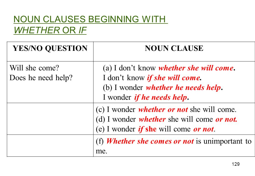 NOUN CLAUSES BEGINNING WITH WHETHER OR IF