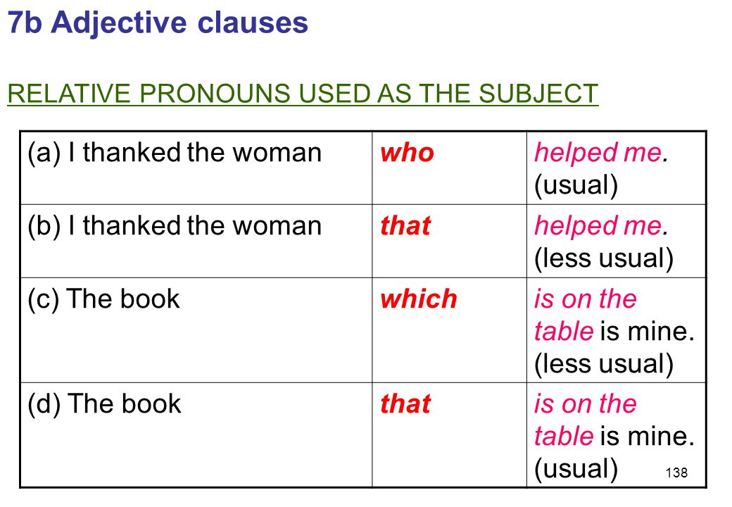 7b Adjective clauses (a) I thanked the woman who helped me. (usual)