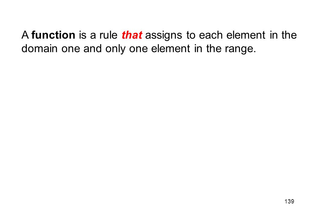 A function is a rule that assigns to each element in the domain one and only one element in the range.