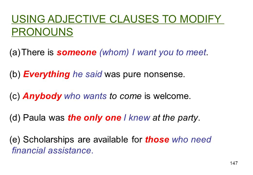 USING ADJECTIVE CLAUSES TO MODIFY PRONOUNS