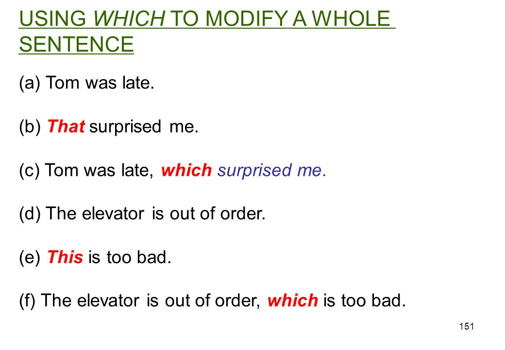 USING WHICH TO MODIFY A WHOLE SENTENCE