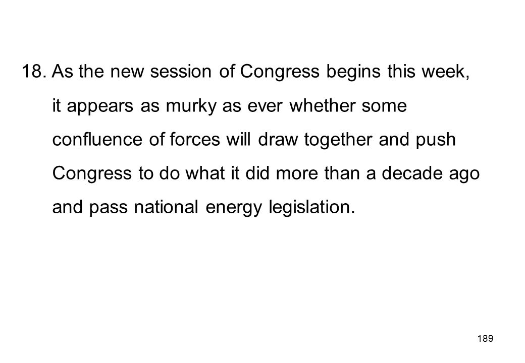 18. As the new session of Congress begins this week,