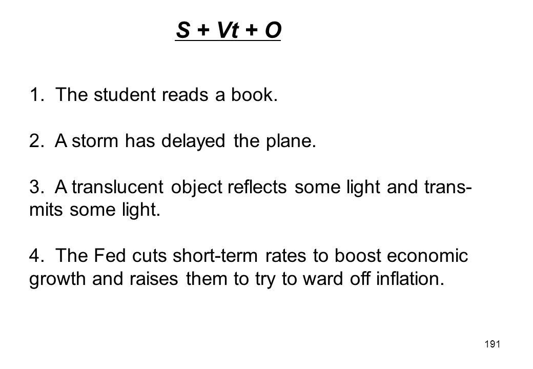 S + Vt + O 1. The student reads a book.