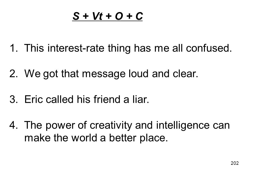 S + Vt + O + C 1. This interest-rate thing has me all confused. 2. We got that message loud and clear.