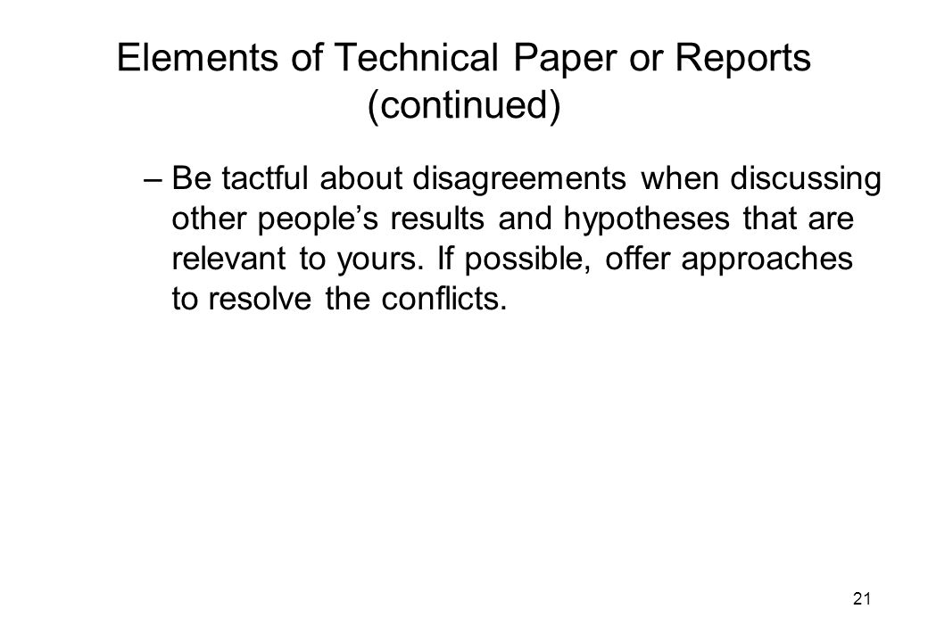 Elements of Technical Paper or Reports (continued)