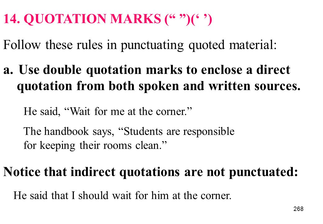 14. QUOTATION MARKS ( )(' ')