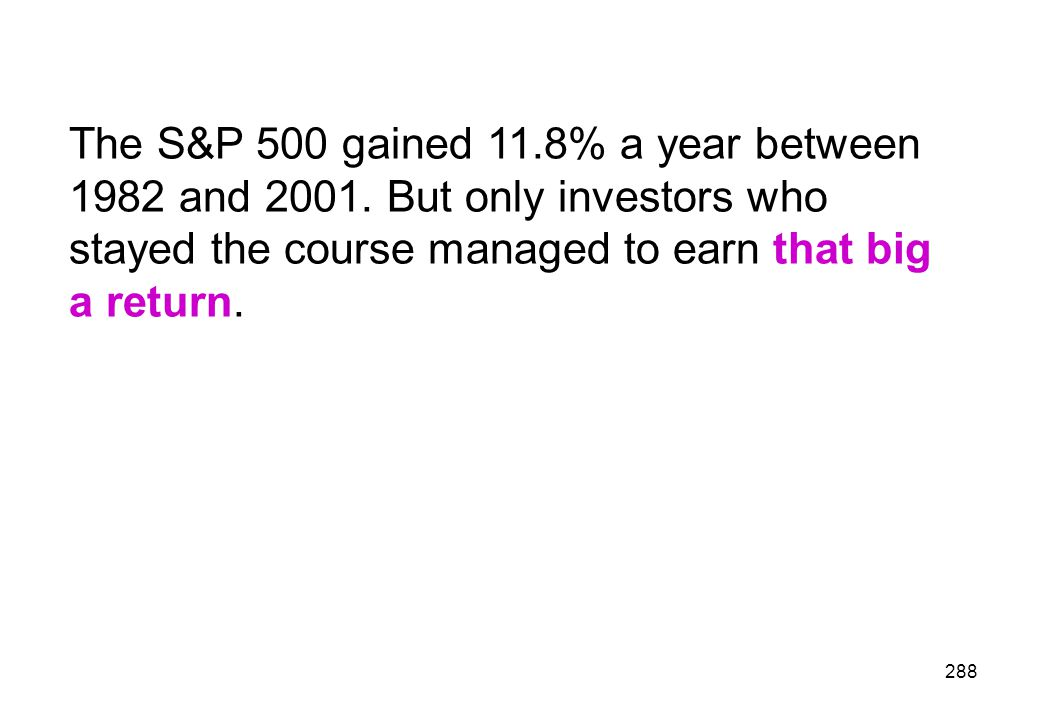 The S&P 500 gained 11. 8% a year between 1982 and 2001