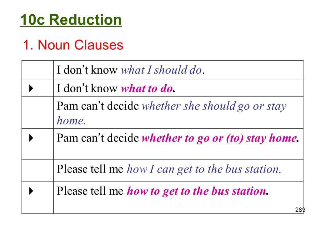 10c Reduction 1. Noun Clauses I don't know what I should do. 
