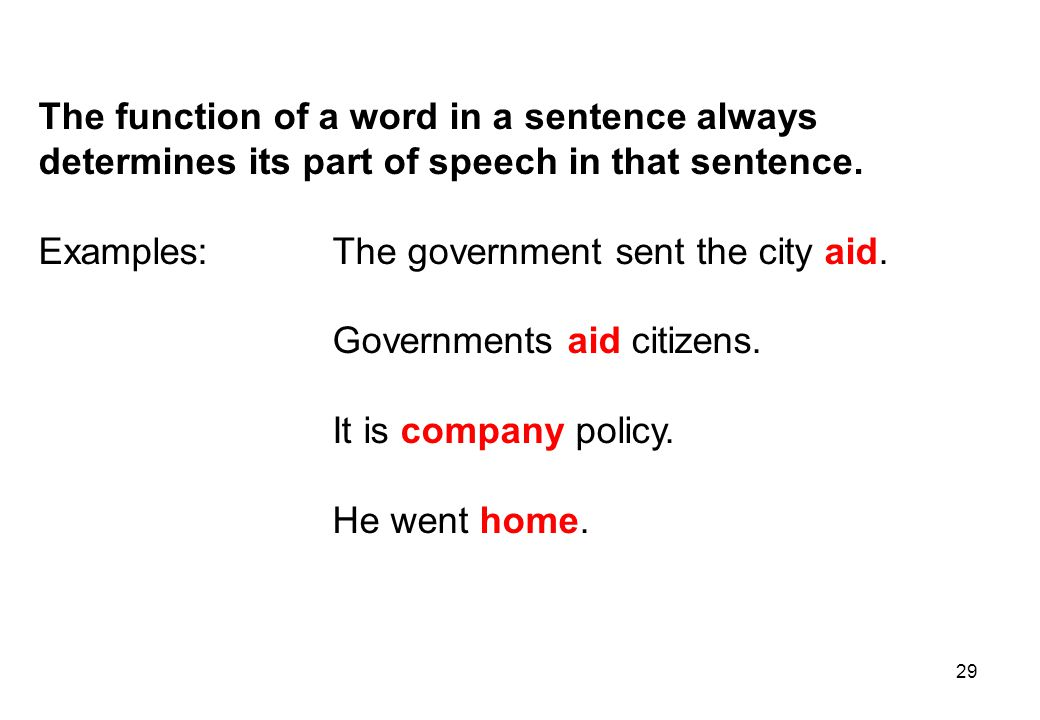 The function of a word in a sentence always