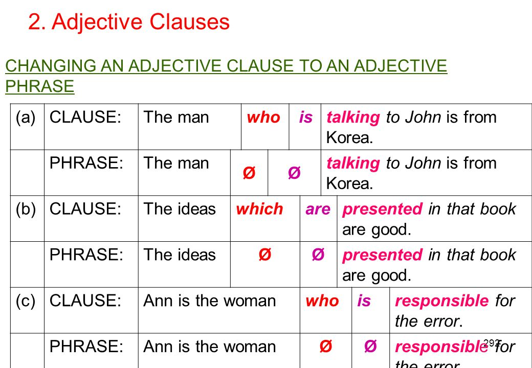 2. Adjective Clauses CHANGING AN ADJECTIVE CLAUSE TO AN ADJECTIVE PHRASE. (a) CLAUSE: The man. who.