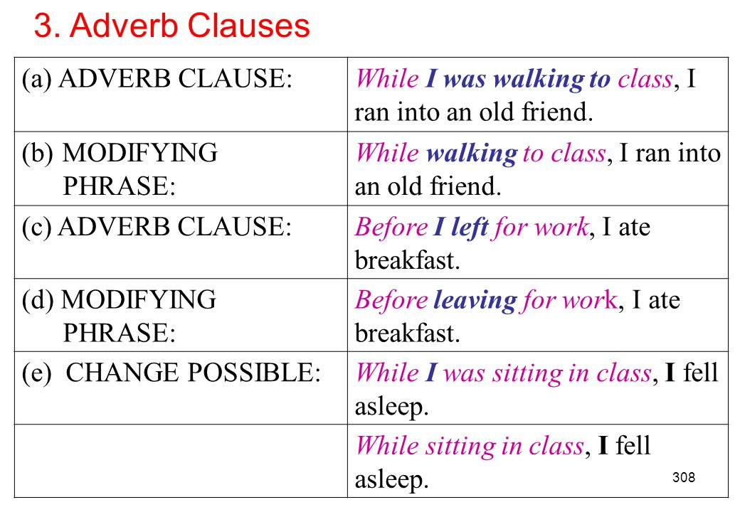 3. Adverb Clauses ADVERB CLAUSE: