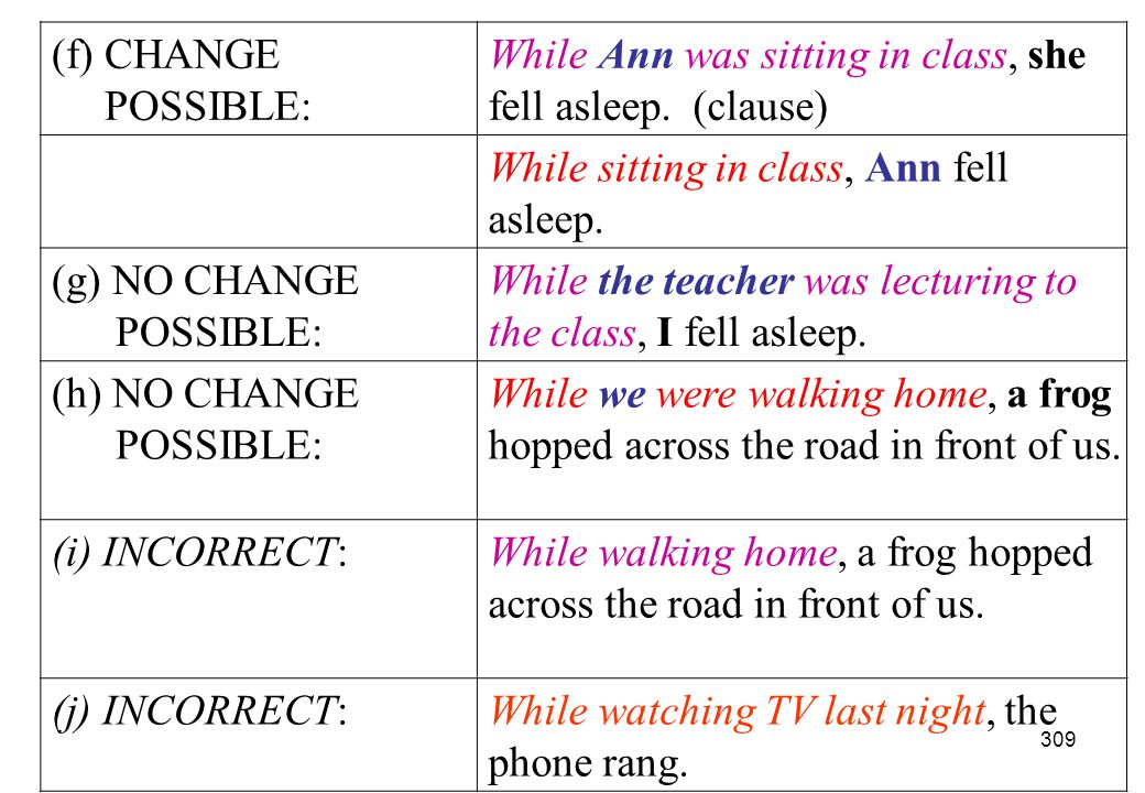(f) CHANGE POSSIBLE: While Ann was sitting in class, she fell asleep. (clause) While sitting in class, Ann fell asleep.