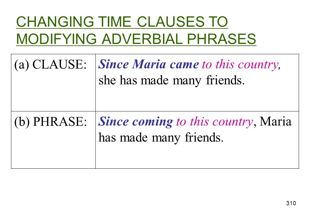 CHANGING TIME CLAUSES TO MODIFYING ADVERBIAL PHRASES