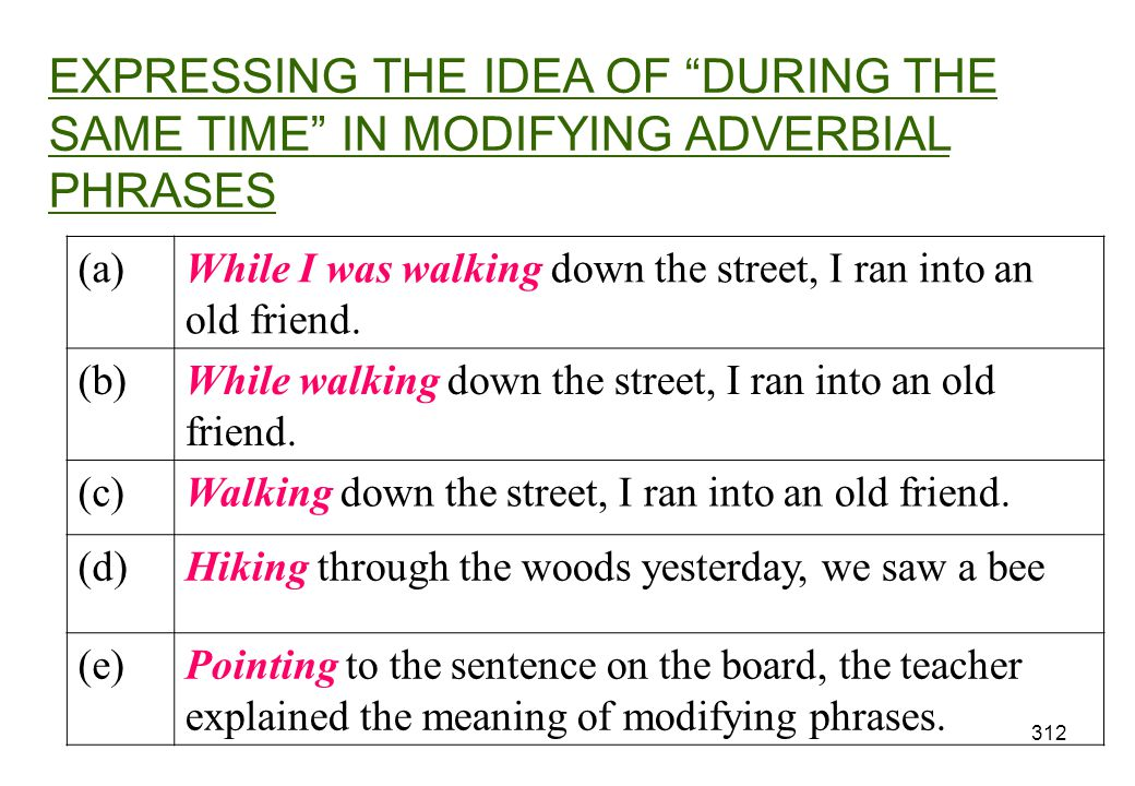 EXPRESSING THE IDEA OF DURING THE SAME TIME IN MODIFYING ADVERBIAL PHRASES