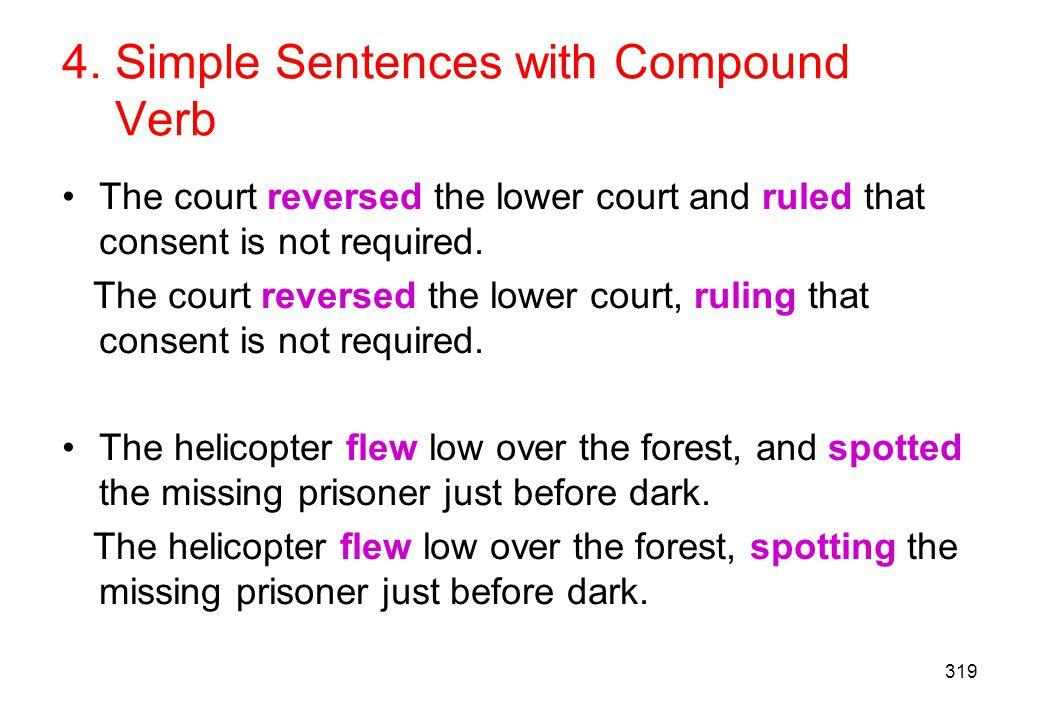 4. Simple Sentences with Compound Verb