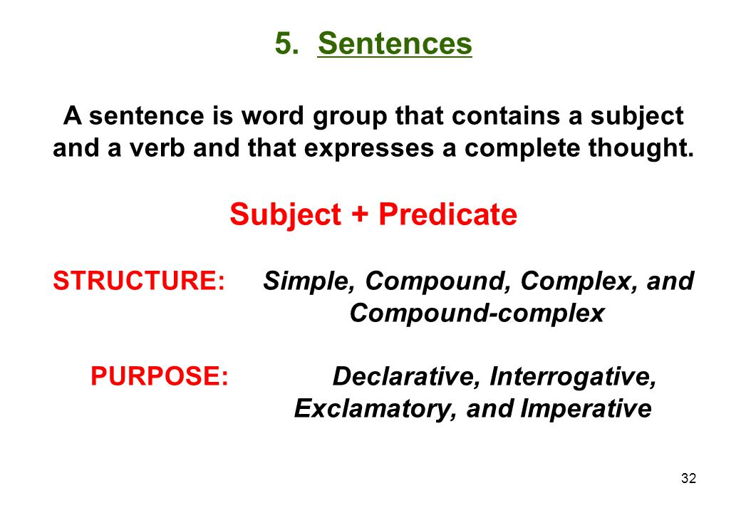 5. Sentences Subject + Predicate