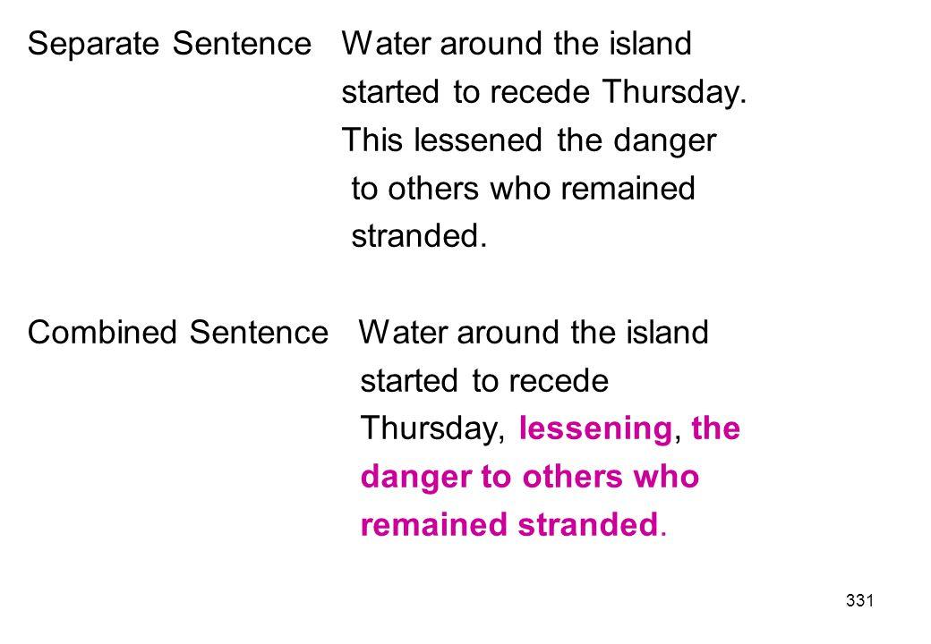 Separate Sentence Water around the island