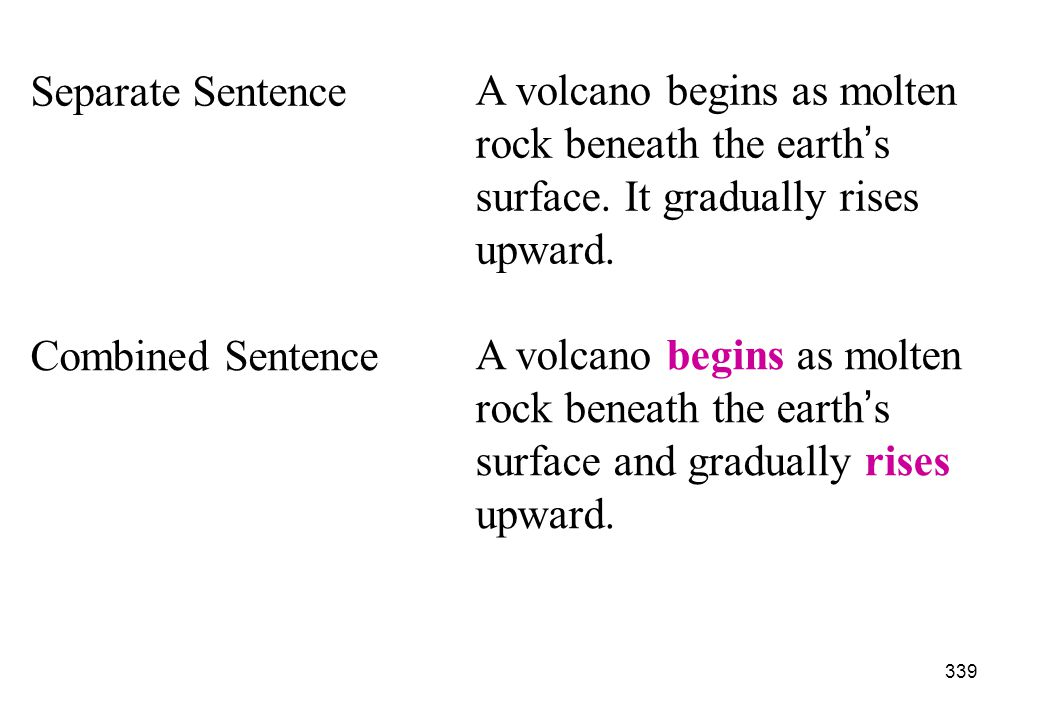 Separate Sentence A volcano begins as molten rock beneath the earth's surface. It gradually rises upward.