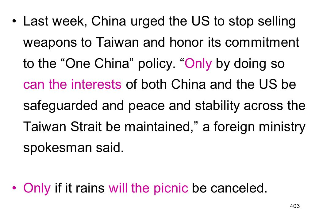 Last week, China urged the US to stop selling weapons to Taiwan and honor its commitment to the One China policy. Only by doing so can the interests of both China and the US be safeguarded and peace and stability across the Taiwan Strait be maintained, a foreign ministry spokesman said.