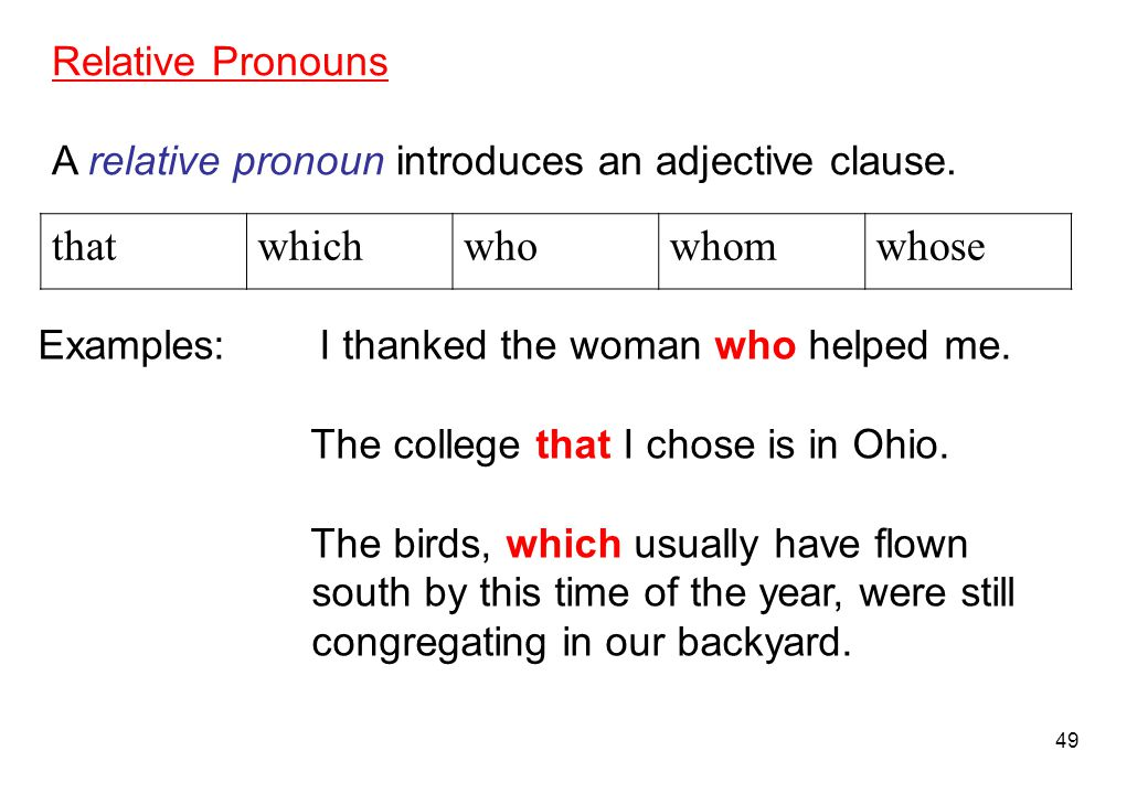 that which who whom whose Relative Pronouns