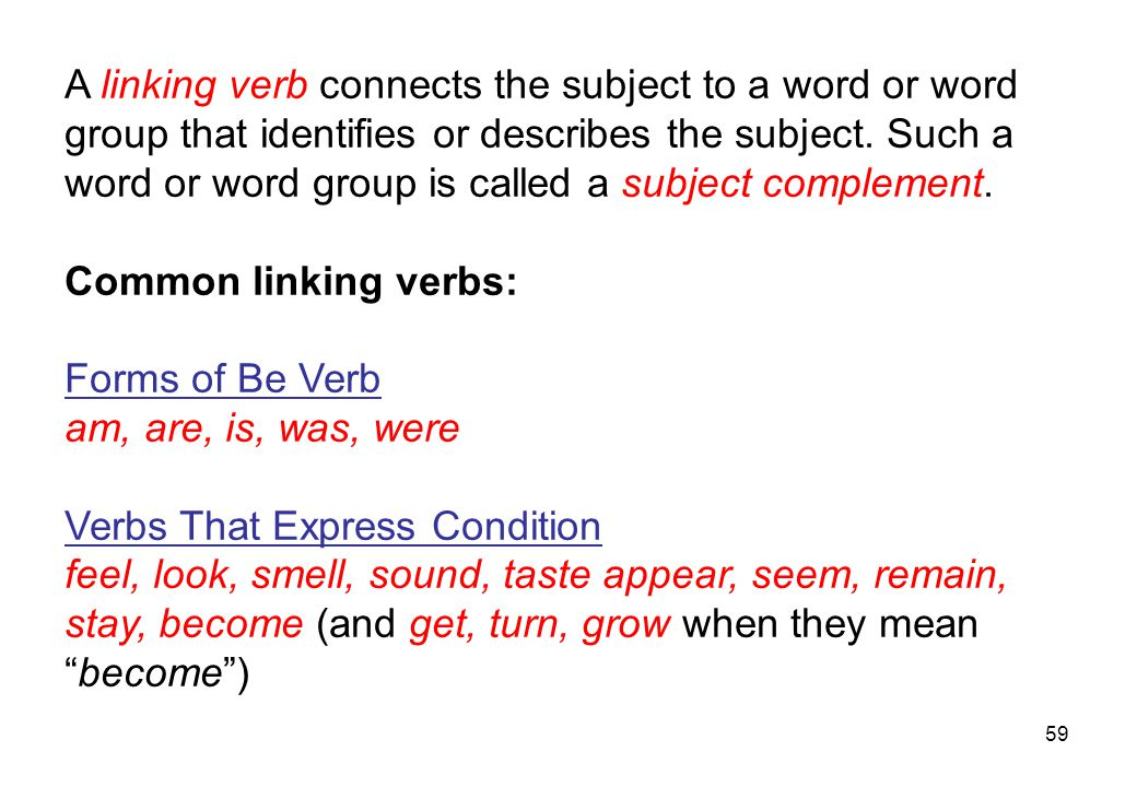 A linking verb connects the subject to a word or word
