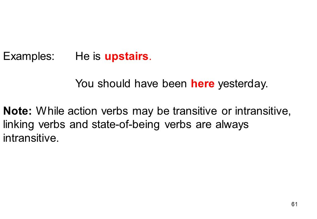 Examples: He is upstairs.