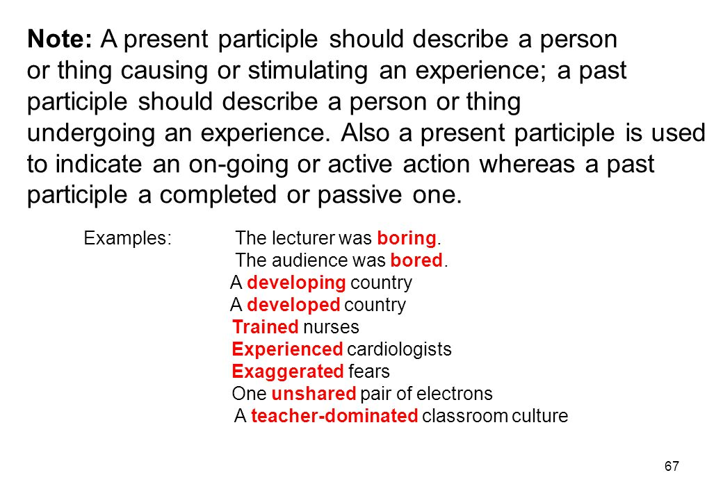 Note: A present participle should describe a person
