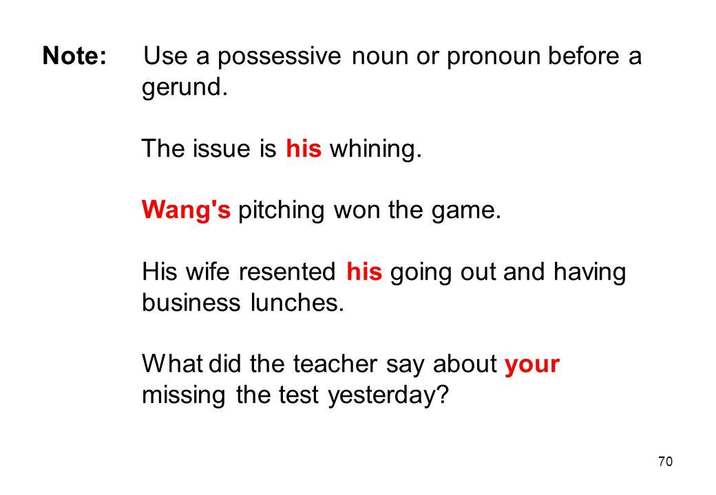 Note: Use a possessive noun or pronoun before a