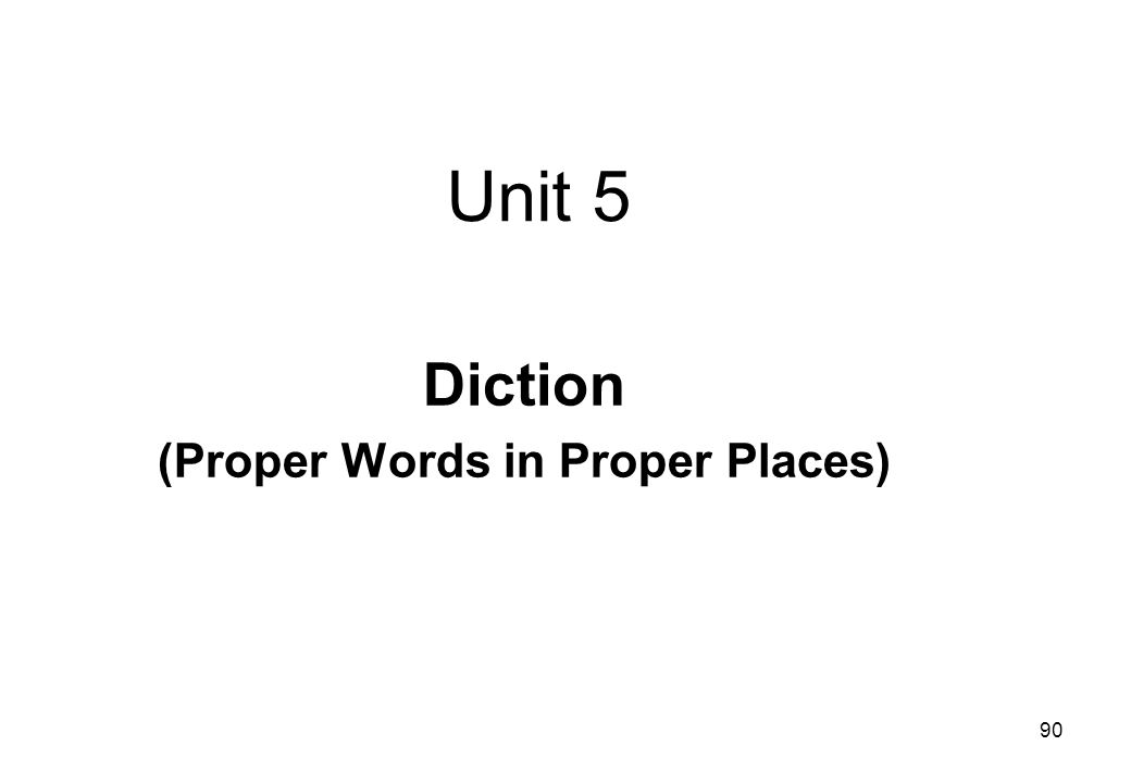 Diction (Proper Words in Proper Places)