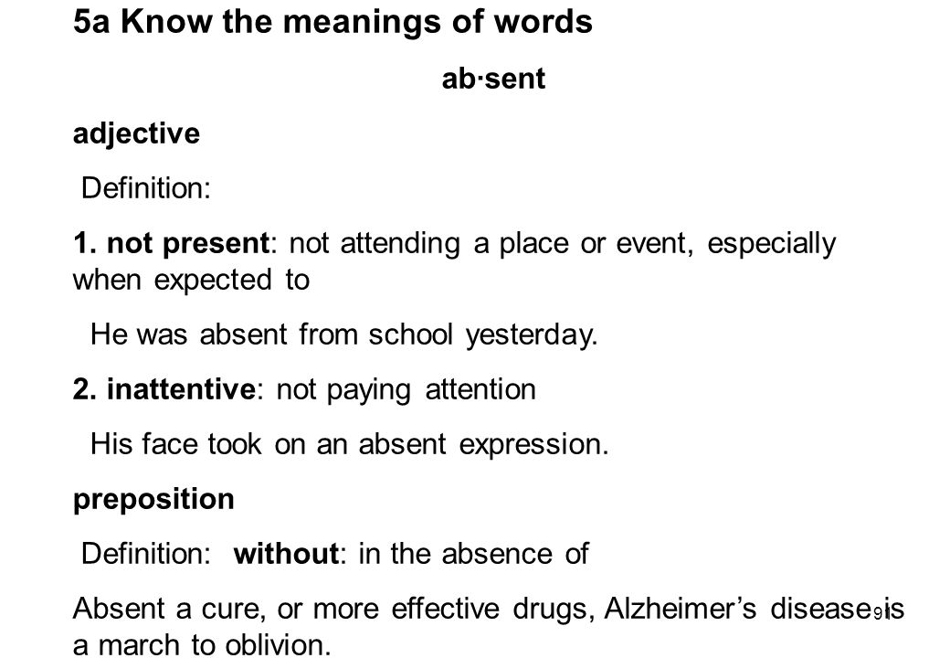 5a Know the meanings of words