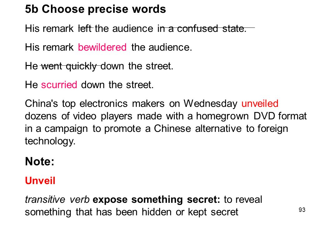 5b Choose precise words Note:
