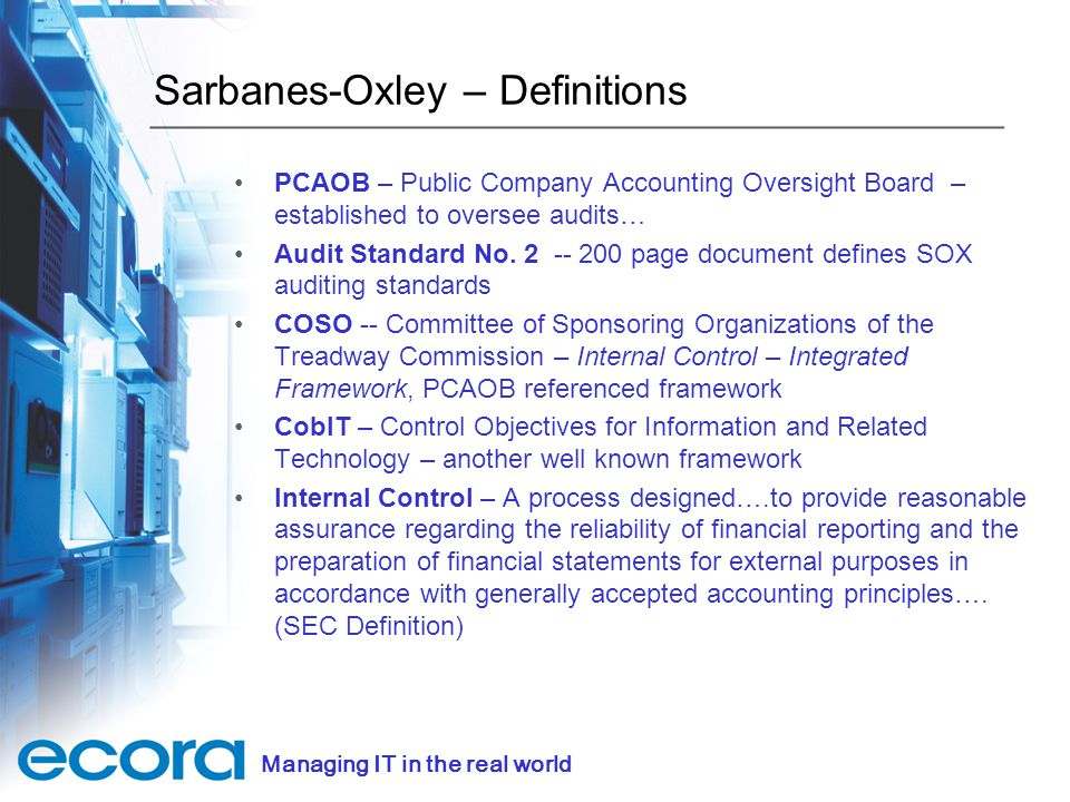 5 sarbanes oxley definitions - Sox Process Documentation