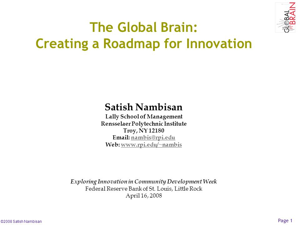 The Global Brain: Creating a Roadmap for Innovation