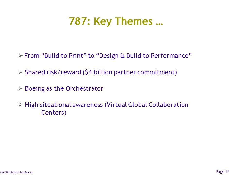 787: Key Themes … From Build to Print to Design & Build to Performance Shared risk/reward ($4 billion partner commitment)