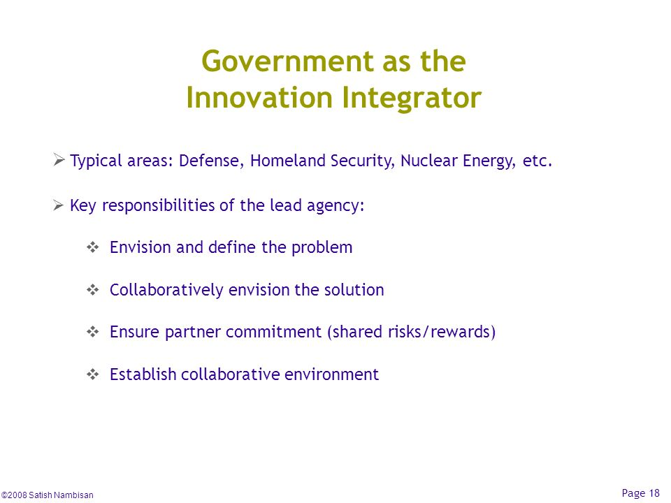 Government as the Innovation Integrator