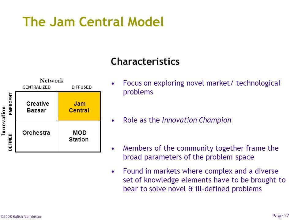 The Jam Central Model Characteristics