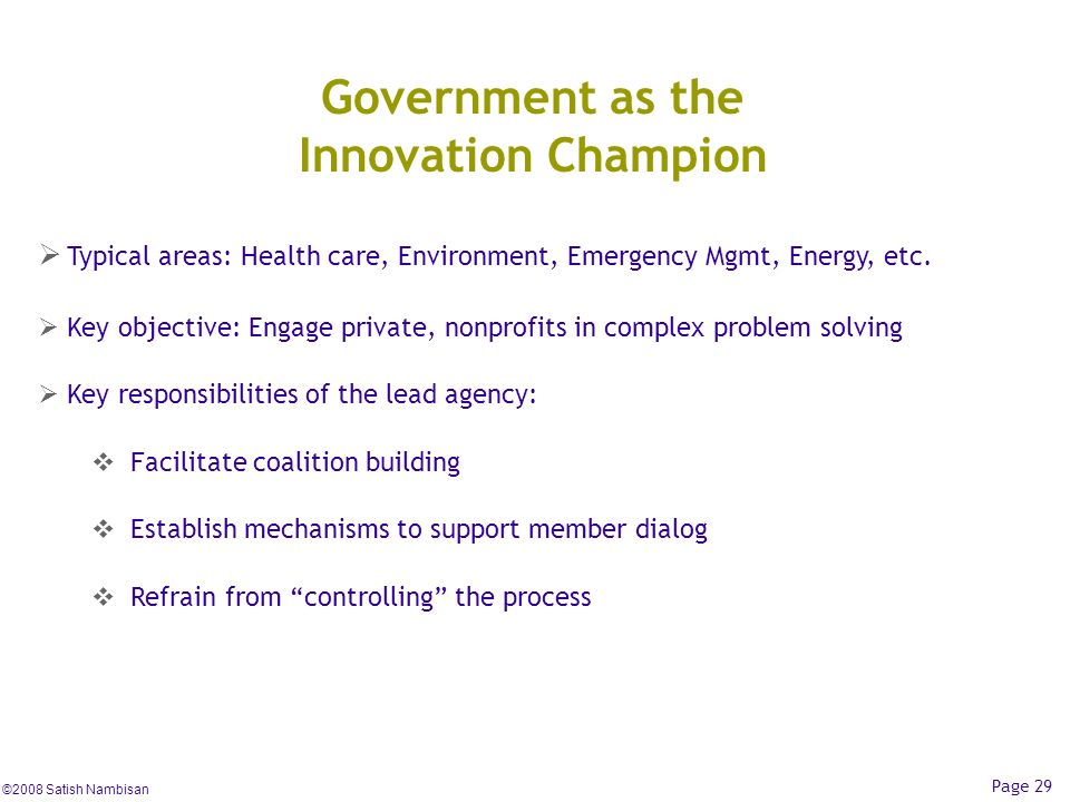 Government as the Innovation Champion