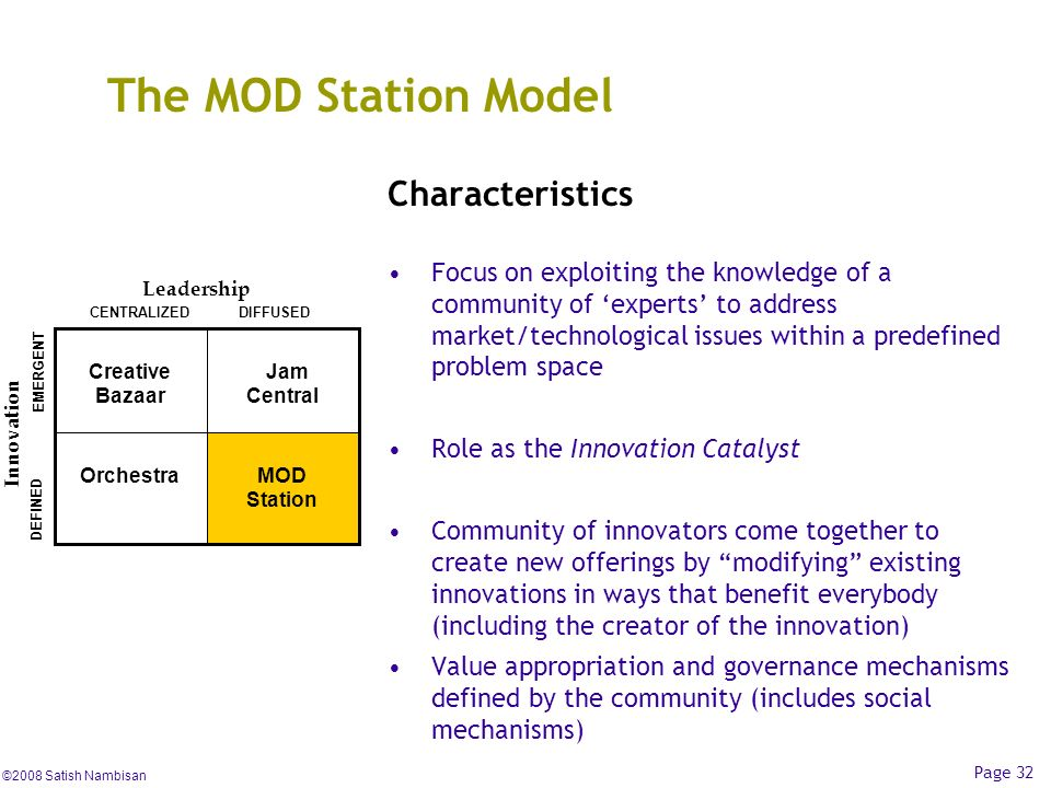 The MOD Station Model Characteristics