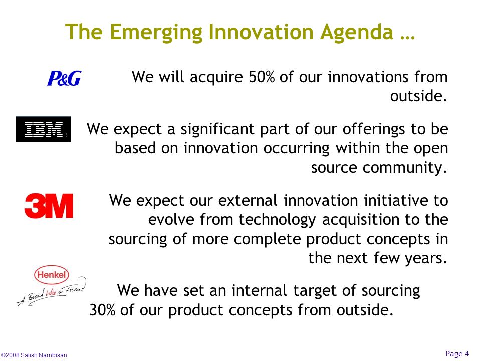 The Emerging Innovation Agenda …