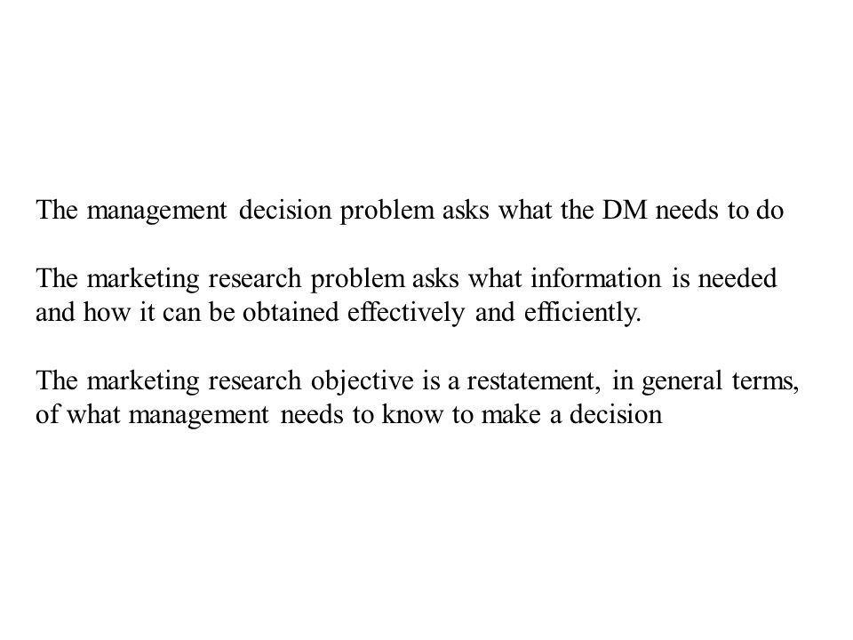The management decision problem asks what the DM needs to do