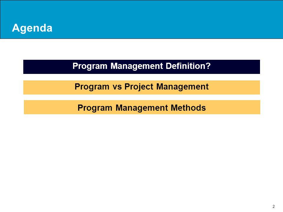 Agenda Program Management Definition Program vs Project Management
