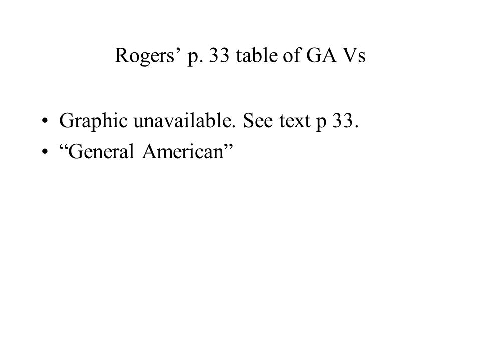 Graphic unavailable. See text p 33. General American